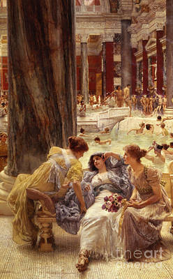 Chatting Painting - The Baths Of Caracalla by Sir Lawrence Alma-Tadema