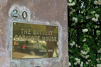 Photograph - The Battery Carriage House Inn Sign by Jill Lang