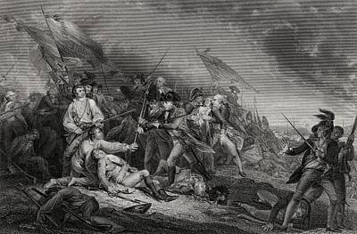 Bunker Hill Drawing - The Battle At Bunkers Hill Near Boston by Vintage Design Pics