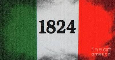 Digital Art - The Battle Flag 1836 - The Alamo by Ian Gledhill
