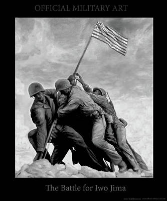 The Battle For Iwo Jima By Todd Krasovetz Art Print by Todd Krasovetz