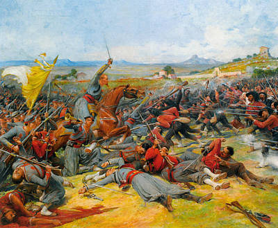 Italian Flag Painting - The Battle Near Mentana by Lionel-Noel Royer