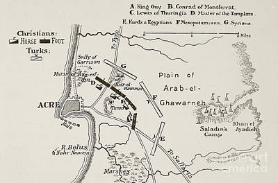 Jerusalem Drawing - The Battle Of Acre, 4th October 1189 by English School