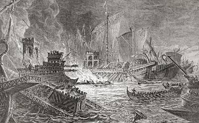 Final Drawing - The Battle Of Actium, At Which Octavian by Vintage Design Pics