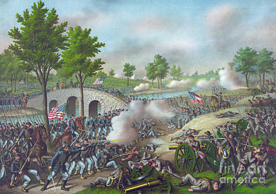 Infantry Painting - The Battle Of Antietam by American School