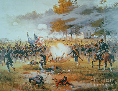 Flags Painting - The Battle Of Antietam by Thure de Thulstrup
