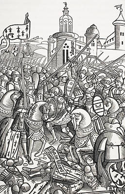 Medieval Battle Drawing - The Battle Of Auray, France, September by Vintage Design Pics