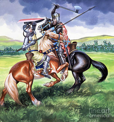 English Gouache Painting - The Battle Of Bannockburn by Ron Embleton