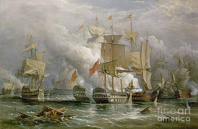 Flags Painting - The Battle Of Cape St Vincent by Richard Bridges Beechey