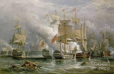 Cannon Painting - The Battle Of Cape St Vincent by Richard Bridges Beechey