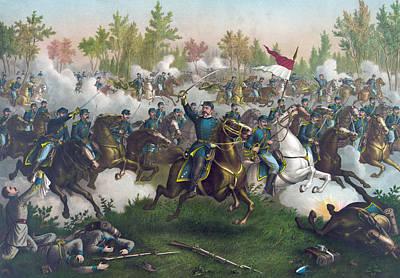 The Battle Of Cedar Creek,  Print by American School