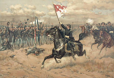 Fighting Painting - The Battle Of Cedar Creek Virginia by Thure de Thulstrup