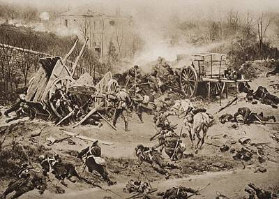 Horse And Cart Drawing - The Battle Of Champigny, November 30 by Vintage Design Pics