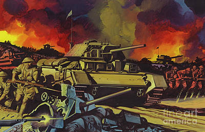 Painting - The Battle Of El Alamein by Ron Embleton