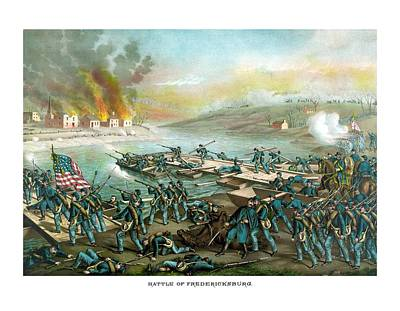 Landmarks Painting Royalty Free Images - The Battle of Fredericksburg Royalty-Free Image by War Is Hell Store