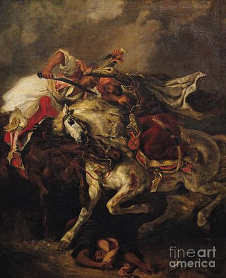 The Battle Of Giaour And Hassan Art Print by Ferdinand Victor Eugene Delacroix