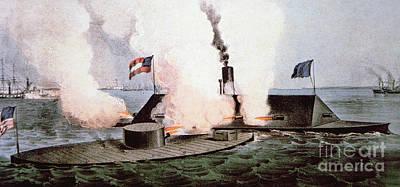 The Battle Of Hampton Roads Art Print by American School