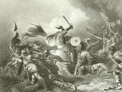 Knight Drawing - The Battle Of Hastings by Philip James de Loutherbourg