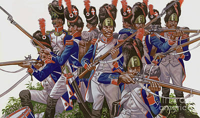 Painting - The Battle Of Jena, Grenadiers Of The French Imperial Guard by Ron Embleton