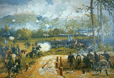 Cannons Painting - The Battle Of Kenesaw Mountain by American School
