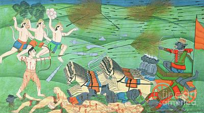 Indian Lore Painting - The Battle Of Lanka, Between Rama And Ravana, King Of The Rakshasas, From The Ramayana by Rajasthani School