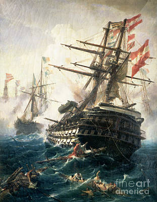 Drowning Painting - The Battle Of Lissa by Constantin Volonakis