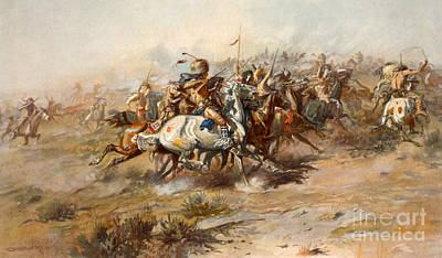 Usa Drawing - The Battle Of Little Bighorn by Charles Marion Russell