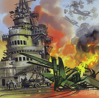 Painting -  The Battle Of Midway by Ron Embleton