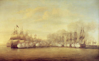 Ship. Galleon Painting - The Battle Of Negapatam by Dominic Serres