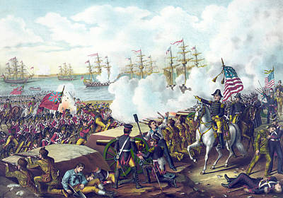 Gunfire Painting - The Battle Of New Orleans by American School