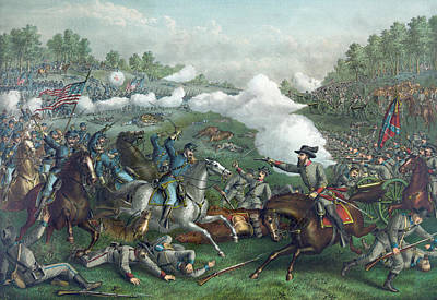 The Battle Of Opequan Print by American School