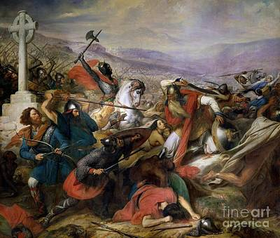 Shield Painting - The Battle Of Poitiers by Charles Auguste Steuben