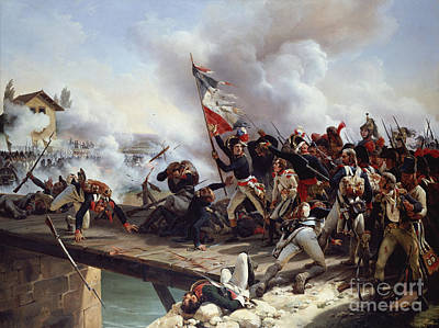 Infantry Painting - The Battle Of Pont D'arcole by Emile Jean Horace Vernet