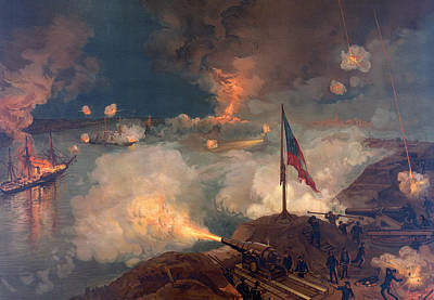 Aflame Painting - The Battle Of Port Hudson, 1863  by American School