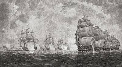 French Man-of-war Drawing - The Battle Of Pulo Aura, 1804. From The by Vintage Design Pics