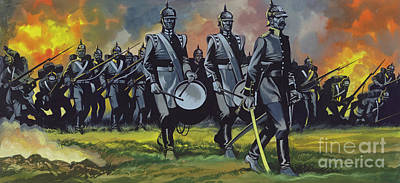 Painting - The Battle Of Sadowa, 1866, The Army Of The Elbe Advancing At A Uniform Pace With Bands Playing  by Ron Embleton