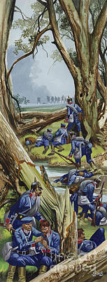 Painting - The Battle Of Sadowa, 1866, The Prussians In The Woods Under Heavy Attack by Ron Embleton