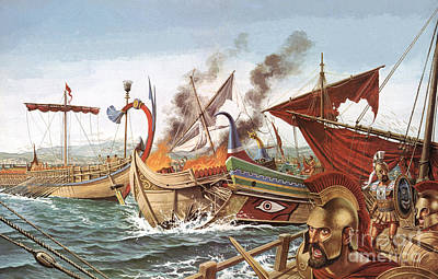 Ancient Greek Painting - The Battle Of Salamis by English School