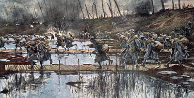 Storm Drawing - The Battle Of The Yser In 1914 by Francois Flameng