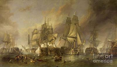 21 Painting - The Battle Of Trafalgar by William Clarkson Stanfield