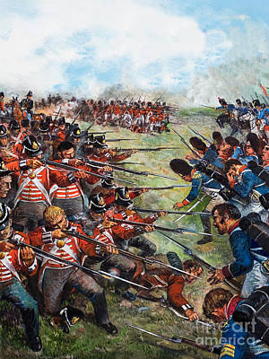 French Man-of-war Painting - The Battle Of Waterloo, 1815 by Clive Uptton