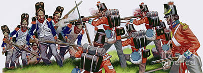 Painting - The Battle Of Waterloo  Gouache On Paper by Ron Embleton