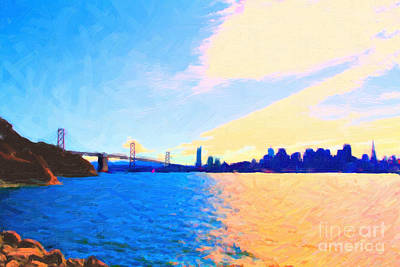 Bay Bridge Digital Art - The Bay Bridge And The San Francisco Skyline by Wingsdomain Art and Photography