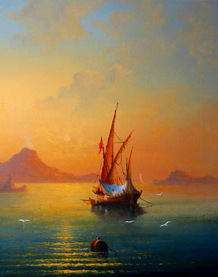 Grande Painting - Sunset Over The Bay Of Naples by Ray Gilronan