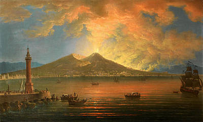 Painting - The Bay Of Naples With The Eruption Of Vesuvius Seen From The Riviera Di Chiaia by Pietro Antoniani