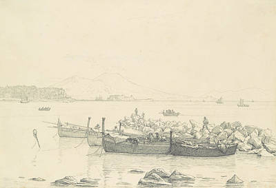 Drawing - The Bay Of Naples With Vesuvius In The Background by Christen Kobke
