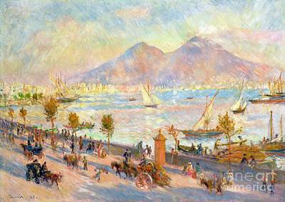The Bay Of Naples With Vesuvius In The Background Art Print by Pierre Auguste Renoir