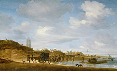 Netherlands Painting - The Beach At Egmond An Zee by Salomon van Ruysdael