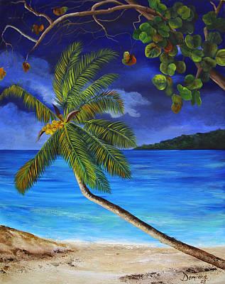 The Beach At Night Original by Dominica Alcantara