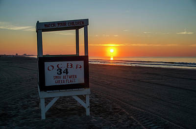Sunrise Photograph - The Beach At Ocean City New Jersey by Bill Cannon
